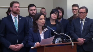 Bloc Quebecois MPs show their support for party leader Martine Ouellet on June 8, 2017. On Feb. 28, 2018 seven of those MPs left the party