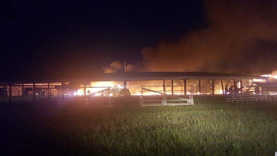 The arbour on Kawacatoose First Nation burned down on Sunday night (Supplied: Lerenda Asapace)