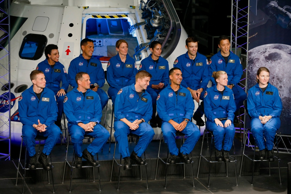 Twelve new astronaut candidates are introduced at the Johnson Space Center in Houston on Wednesday, June 7, 2017. (Michael Ciaglo/Houston Chronicle via AP)