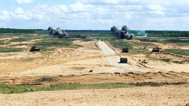 Two large explosions to clear obstacles during Exercise Saber Strike 17, in Adazi, Latvia, Friday, June 9, 2017. (Mercedes Stephenson/CTV News)