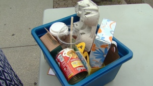 A bin of items used in the McLaughlin on Your Side recycling challenge. (CTV)