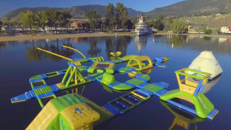 An inflatable park on the water similar to this one is coming to Barrie (Courtesy: Splash On)