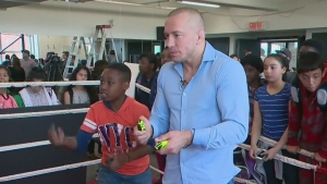 Former mixed martial arts champion Georges St-Pierre was at Montcalm Elementary to promote a new Nintendo video game and discuss bullying (June 9, 2017)