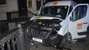 An undated handout photo issued by the Metropolitan Police, London, and made available Saturday, June 10, 2017, of the van used in the London Bridge attacks of Saturday June 3 which killed several people and wounded dozens more. (Metropolitan Police London via AP)o