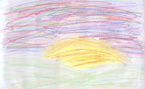 Weather art by Hannah, age 12, from St. Edmund's Elementary School.