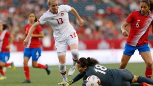 Canada's midfielder Sophie Schmidt (13) attempts to get the ball past Costa Rica's goalkeeper Noelia Bermudez (18) during second half soccer action of a friendly match in Winnipeg, Thursday, June 8, 2017. (John Woods/The Canadian Press)