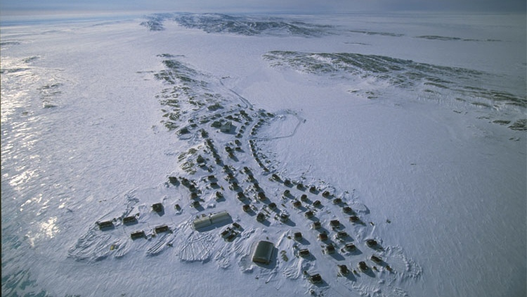 This overhead photo depicts the community of Akulivik, a peninsula on the Hudson's Bay, home to approximately 507 people. (Photo courtesy Nunavik Tourism)