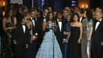 The cast and crew of 'Dear Evan Hansen' accept the award for best musical at the 71st annual Tony Awards in New York on Sunday, June 11, 2017. (Michael Zorn / Invision)