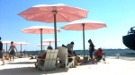Those looking to cool down over the weekend found a spot on Toronto's Sugar Beach. (Rachael D'Amore/CTV News Toronto)