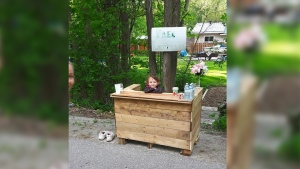 Jonathon Smith's five-year-old daughter Lily poses with her lemonade stand along the Tay Shore Trail. (Jonathon Smith / Facebook)
