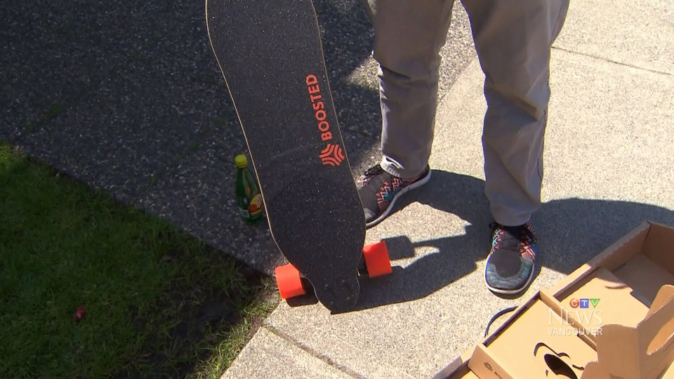 An electric skateboard is pictured. (CTV)