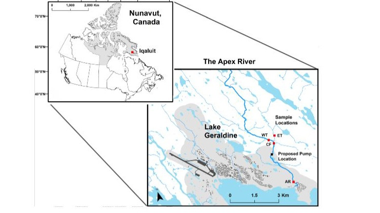 These maps show the location of Iqaluit, Nunavut and the locations of Lake Geraldine and the Apex River. (Hydrologic monitoring tools for freshwater municipal planning in the Arctic: The case of Iqaluit, Nunavut, Canada / Environmental Science and Pollution Research)