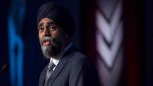 Minister of National Defence Harjit Sajjan speaks at the Canadian Association of Defence and Security conference in Ottawa, Wednesday May 31, 2017. (Adrian Wyld/The Canadian Press)