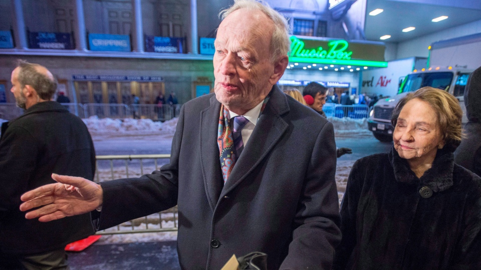 "Former Prime Minister Jean Chretien and his wife, Aline, arrive before the start of the Broadway musical ""Come From Away"", in New York City on Wednesday, March 15, 2017. (THE CANADIAN PRESS/Ryan Remiorz)"