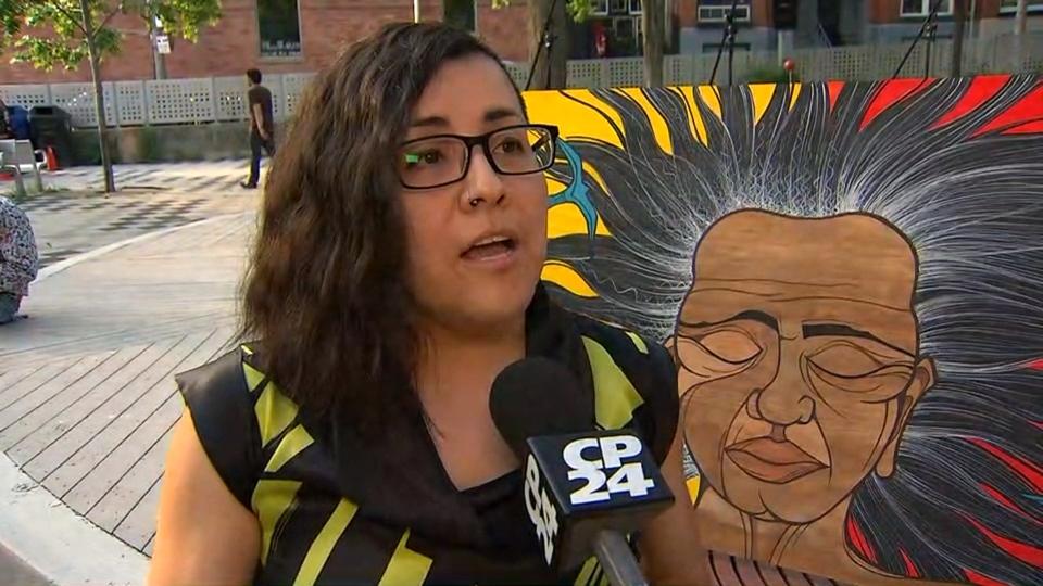 A Toronto-based Latin artist, Janet Romero-Leiva, unveiled her piece 'Still Estamos Aqui' -- a nod to the 49 people killed in Orlando's Pulse nightclub massacre -- on the shooting's anniversary. (CP24)