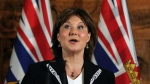 Premier Christy Clark speaks to media following a swearing-in ceremony for the provincial cabinet at Government House in Victoria, B.C., on Monday, June 12, 2017. (Chad Hipolito / THE CANADIAN PRESS)