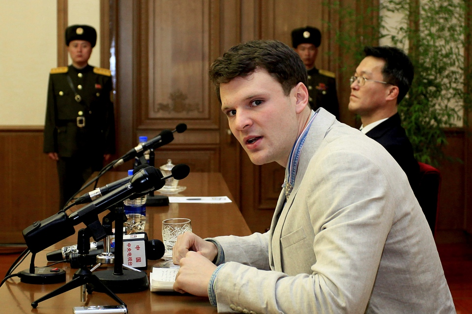 In this Feb. 29, 2016 file photo, American student Otto Warmbier speaks to reporters in Pyongyang, North Korea. (AP / Kim Kwang Hyon)