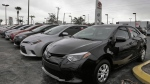 Toyota Corollas sit on a dealership lot in Brandon, Fla. When they meet on Friday, Feb. 10, 2017 in Washington, Japanese Prime Minister Shinzo Abe and U.S. President Donald Trump will be tackling issues where the two sides are unlikely to see eye-to-eye, based on Trump's recent comments. (AP Photo/Chris O'Meara, File)