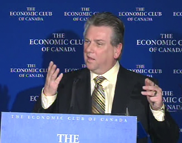 CAW President Ken Lewenza speaks at the Economic Club of Canada in downtown Toronto, Wednesday, April 1, 2009.