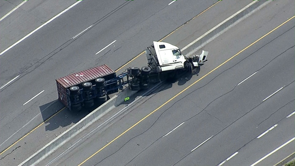 A transport truck carrying the hazardous material -- phosphine, a flammable and toxic gas -- rolled over on the QEW at Martindale Road. Ontario Provincial Police have shut down a section of the QEW and have issued an evacuation order as a result. (CP24)