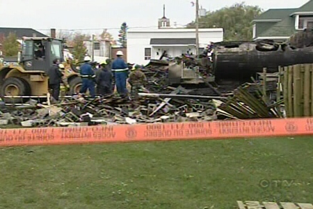 The aftermath of a tanker truck being driven into a Hells Angels bunker in Sorel last October. (Apr. 1, 2009)