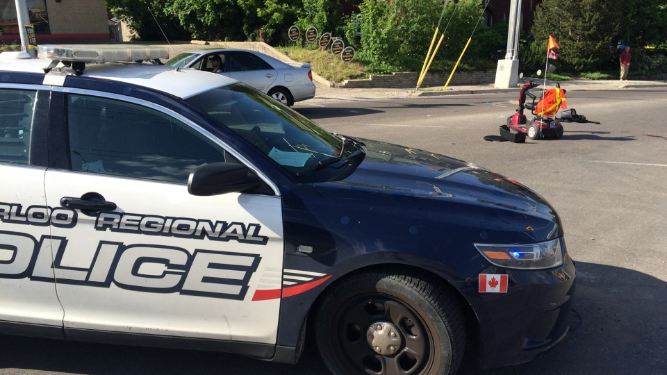 A scooter driver was taken to hospital after his vehicle and a car collided on Wellington Street in Kitchener. (Dan Lauckner / CTV Kitchener)