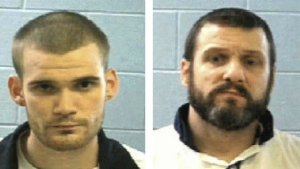 Inmates Ricky Dubose, left, and Donnie Russell Rowe are seen in this photo released on Tuesday, June 13, 2017. (Georgia Department of Corrections)