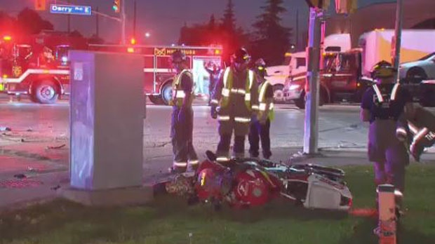Two people were injured in a collision involving a motorcyle and vehicle in Mississauga late Tuesday. (CTV News Toronto)