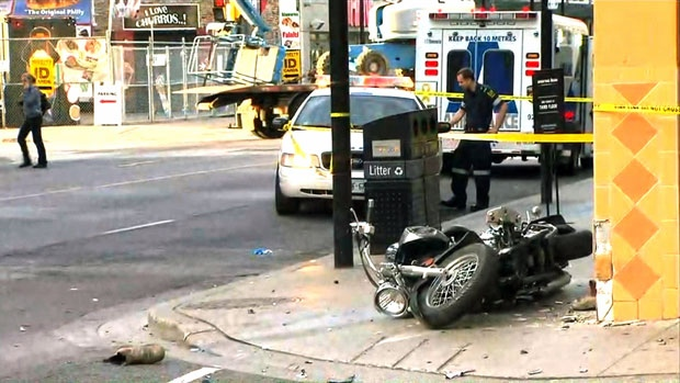 Motorcycle crash near Yonge and Elm
