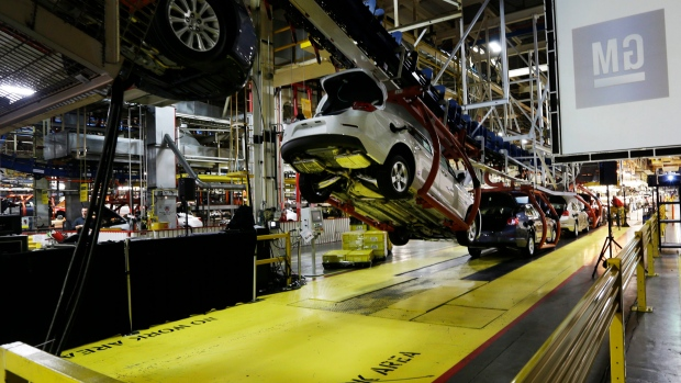 In this Monday, Jan. 28, 2013 file photo, cars move along an assembly line at the General Motors Fairfax plant in Kansas City, Kan. (AP / Orlin Wagner)