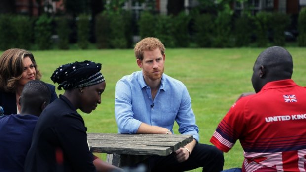 Prince Harry with Lisa LaFlamme, plus former soldiers-turned Invictus athletes and their families, as part of CTV's exclusive one-on-one with the royal on his journey to create the Invictus Games. (Photo: Rosa Hwang / CTV News)