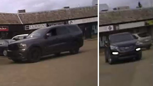 EPS released two images showing a dark-grey newer model Dodge Durango and a black Hyundai Tucson, believed to be connected to a fatal shooting in the area of 118 St. and 145 Ave. on Sunday, June 11, 2017. Supplied.