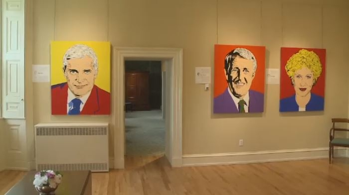 The exhibit features pop art portraits of all 23 Canadian Prime Ministers.