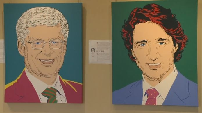 Stephen Harper and Justin Trudeau are featured in a new pop art exhibit called 'Prime Time.'