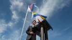 Canadian Prime Minister Justin Trudeau delivers remarks after participating in a ceremony raising the pride and transgender flags on Parliament Hill in Ottawa, Wed., June 14, 2017. (Adrian Wyld / THE CANADIAN PRESS)