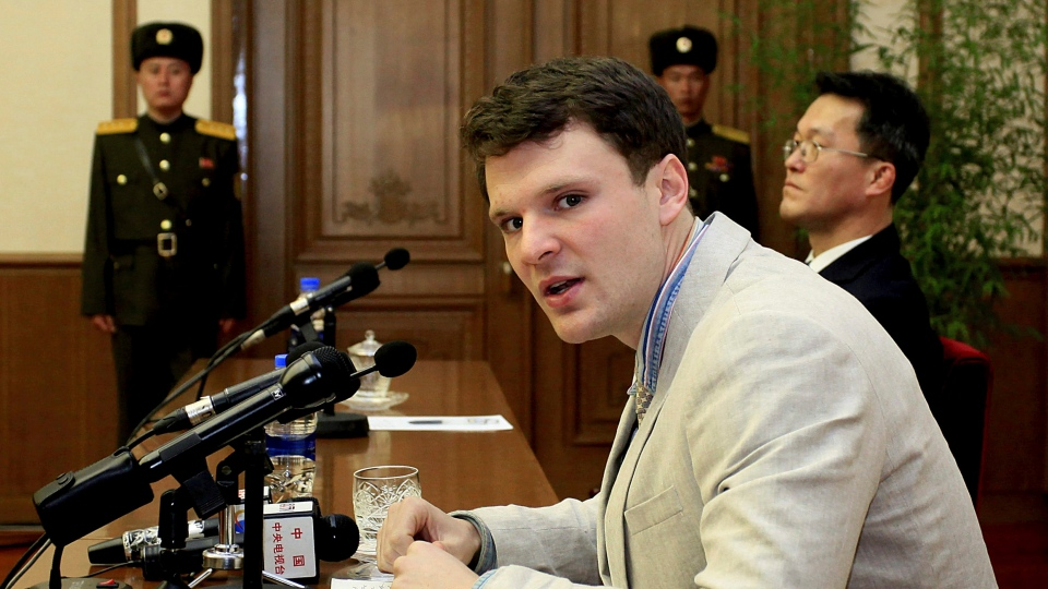American student Otto Warmbier speaks to reporters in Pyongyang, North Korea on Feb. 29, 2016. (AP / Kim Kwang Hyon)