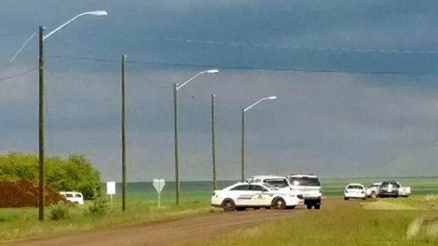 RCMP presence near the village of Foremost after two suspects were arrested in connection with a police pursuit and an alleged vehicle theft (photo: Carrie Butterwick)