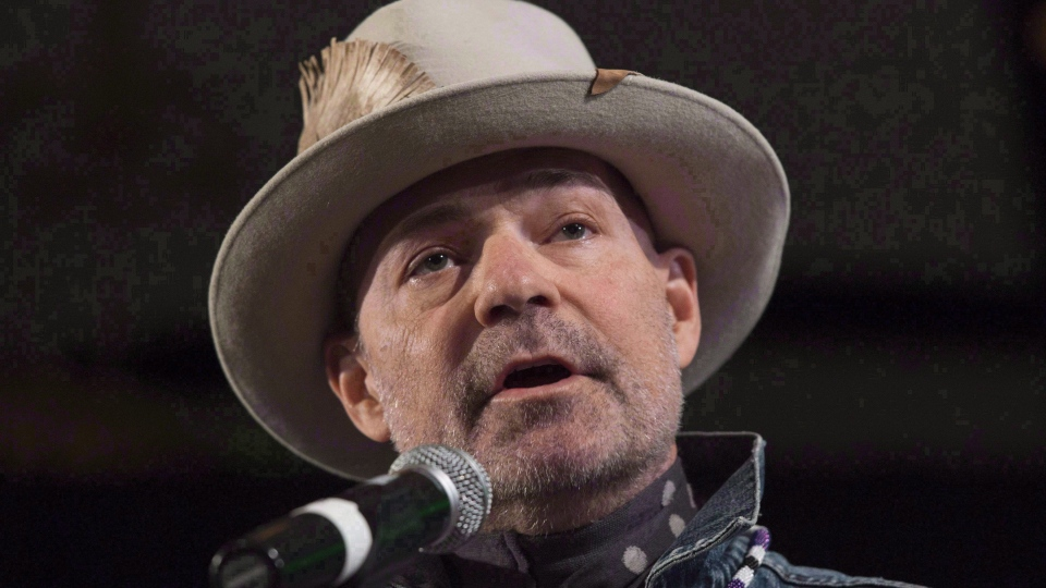 In this Dec. 6, 2016 file photo, Gord Downie speaks during a ceremony honouring him at the AFN Special Chiefs assembly in Gatineau, Que. (Adrian Wyld / THE CANADIAN PRESS)