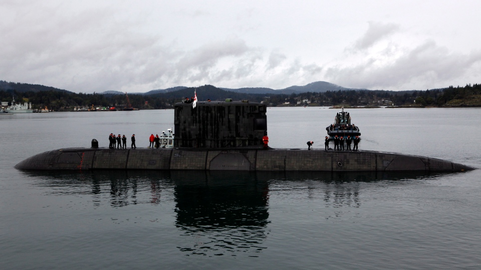 In this file photo, the HMCS Chicoutimi seen departing Thursday, March 2, 2017 during Prime Minister Trudeau's visit to CFB Esquimalt in Esquimalt, B.C. (THE CANADIAN PRESS / Chad Hipolito)