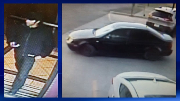 Photographs of the suspect and suspect vehicle in connection with an attempted robbery inside a hotel room on Sunridge Way on June 5, 2017 (photos: CPS)