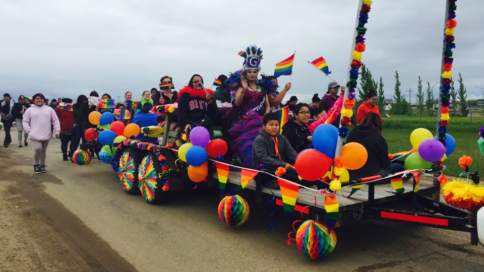 People march in Beardy's and Okemasis Cree Nation's second-annual Two-Spirit Pride Parade on Thursday, June 15, 2017. (Rachelle Elsiufi/CTV Prince Albert)