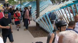 The wave tunnel along St. Denis will provide a cooling mist this summer. It's one of several interesting features being promoted along the street this summer (June 15, 2017)
