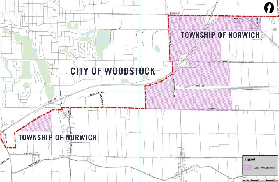 The City of Woodstock hopes to annex just under 1,500 acres from Norwich Township.