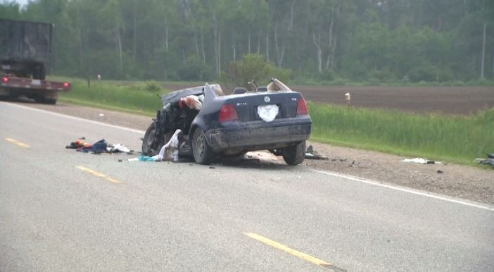 A car collided with a truck on county road 109 near Arthur on June 15, 2017.