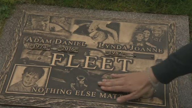 JoAnne Matchim-Fleet says she was shocked to find her late husband's headstone had been defaced.