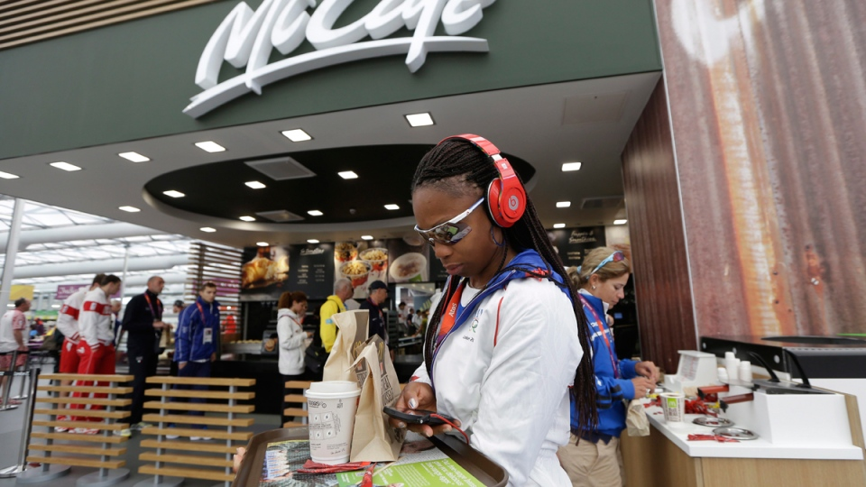 McDonald's inside the dining hall at the Olympic Village in London, on July 31, 2012. (Bullit Marquez / AP)