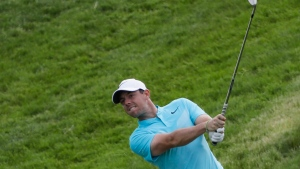 Rory McIlroy, of Ireland, hits to the 12th green during the second round of the U.S. Open golf tournament at Erin Hills in Erin, Wis. on Friday, June 16, 2017. (AP  / David J. Phillip)