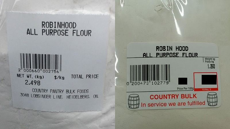 All-purpose flour sold at Country Pantry Bulk Foods in Heidelberg and Country Bulk in Waterloo is being recalled. (Canadian Food Inspection Agency)