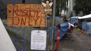 People living at a homeless encampment on Main Street have been told to leave by Friday morning. June 16, 2017. (CTV)