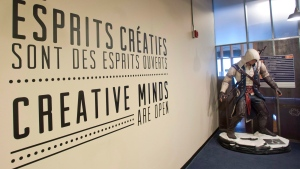 The entrance to Ubisoft's fifth floor is shown at their offices in Montreal, Thursday, May 16, 2013. (THE CANADIAN PRESS/Graham Hughes)